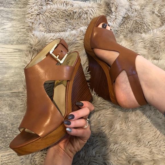 Josephine Leather Peep Toe Wedges